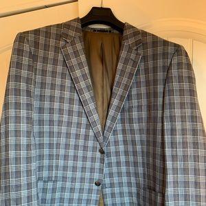 Paul Fredrick Sport Coat Men Sz48R Linen Blue/Tan